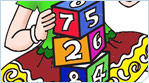 Educational Illustration of a cute girl playing with number cubes