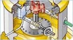 Technical Illustration explaining working of a piston